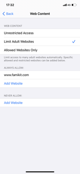 limit websites on iPhone 12