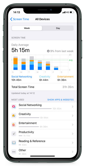 check screen time on iOS