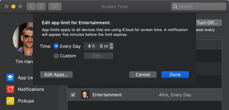 limit screen time on macOS Catalina