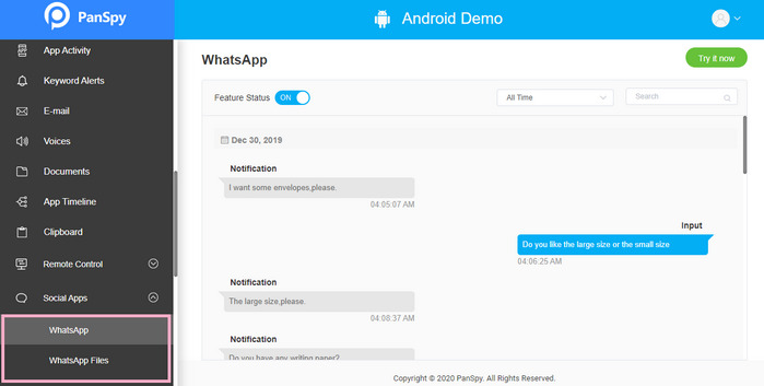 track WhatsApp messages on Samsung Galaxy S21